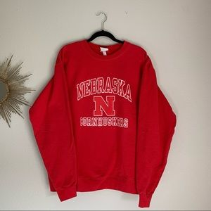 Nebraska Huskers Champion Red Crewneck Sweatshirt